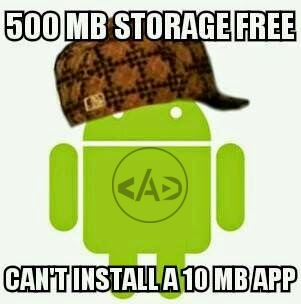 500 MB storage free can't install a 10 MB App